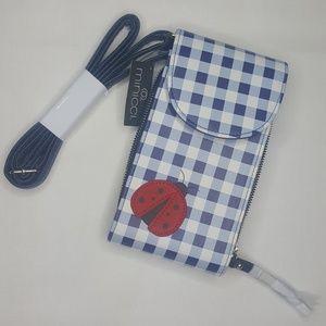 Minicci Ladybug Blue Gingham Purse Wallet Clutch